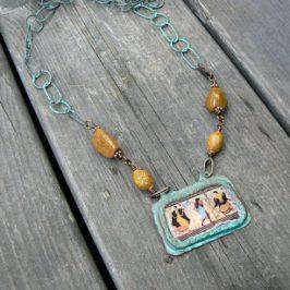 Etruskikaulakoru ja turkoosi rannekoru